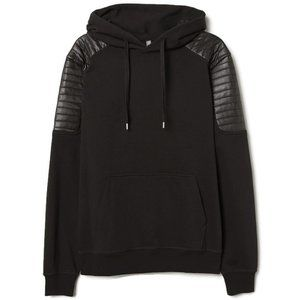 Faux Leather Shoulder Hoodie
